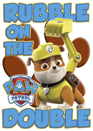 Paw Patrol Rubble sul doppio Boy//girls t-shirt Regalo Ideale//presenti