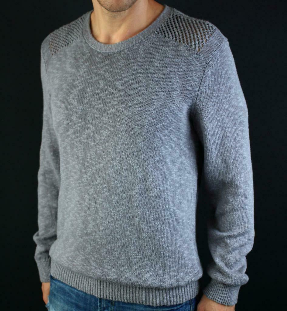 ARMANI EXCHANGE AX Mens Perforated Shoulder Cable Knit Crew Sweater Logo NWT