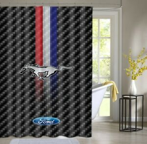 Image Is Loading Ford Mustang Classic Logo Custom Shower Curtain Waterproof