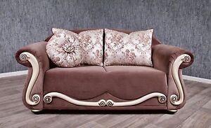 Barock Sofa Couch 2 Sitzer Antik Massiv Mokka Braun Stilart