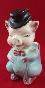 Vintage Ceramic Top Hat & Bowtie Piggy Planter Royal Copley (?)