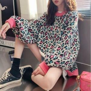 Womens-Fashion-Leopard-Jacquard-Pullover-Loose-Knitted-Sweater-Cardigan-Top-SKGB