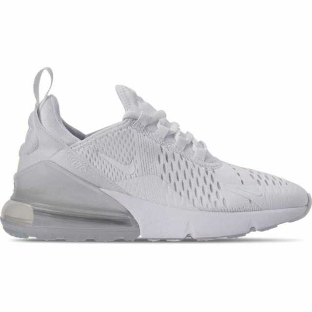 Big Kids' Nike Air Max 270 Casual Shoes WhiteWhiteMetallic Silver 943345 103 S