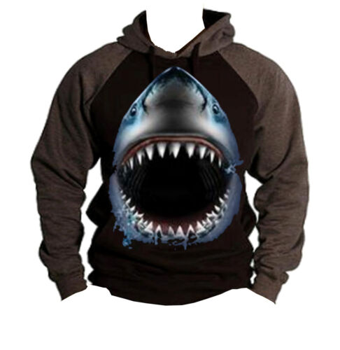 Men/'s Shark Face Animal Print Gray Black Raglan Hoodie Beast Dope Sweater