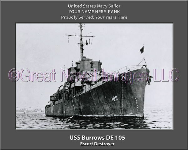 USS Burrows DE 105 Personalized Canvas Ship Photo Print Navy Veteran Gift