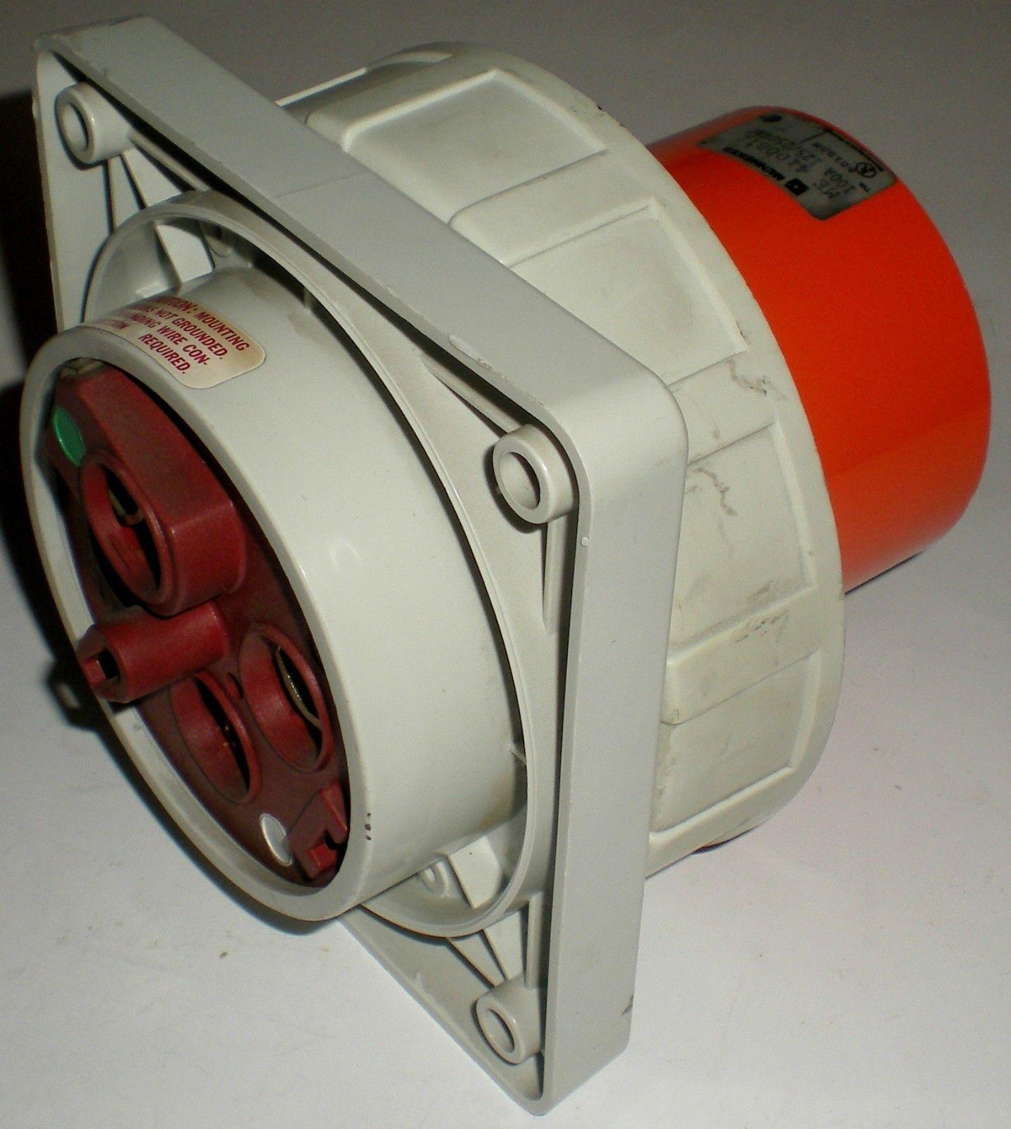 4100B12W  Mennekes 100A 4W 125//250V Inlet W//T  UL Listed  NSFP