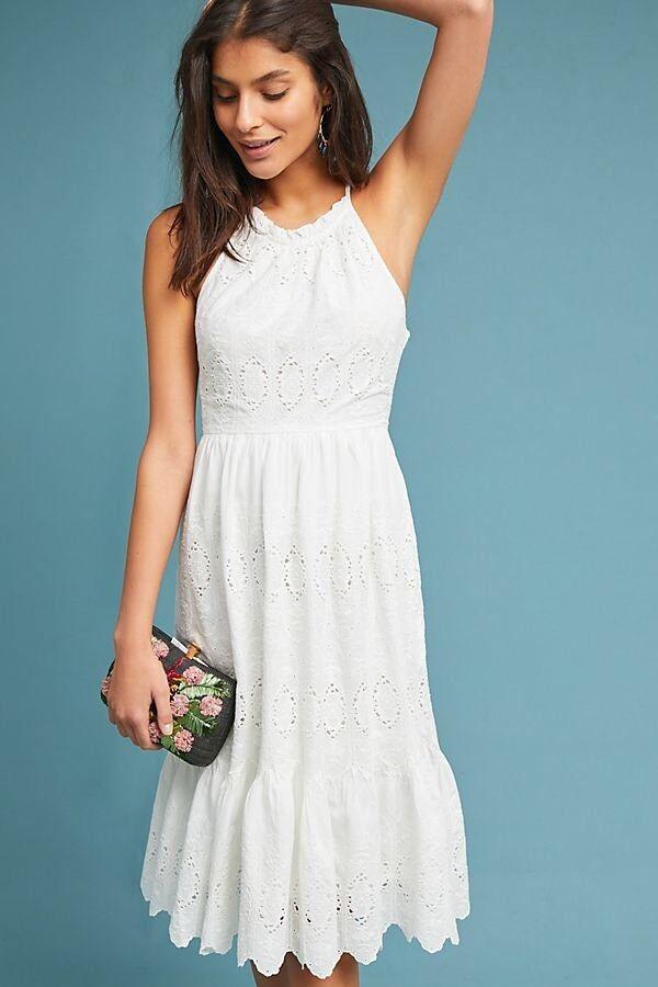 3dbec4e8317c Anthropologie Tiered Eyelet Midi Dress by Maeve White 6 NWT Size ...