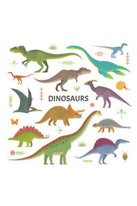 Dinosaurs-Collection-Colorful-Drawing-Illustrations-Poster-12x18-inch