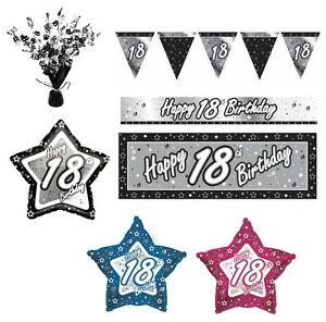 NEGRO-Y-PLATEADO-18-anos-Feliz-18th-fiesta-cumpleanos-ART-CULOS-Decoracion