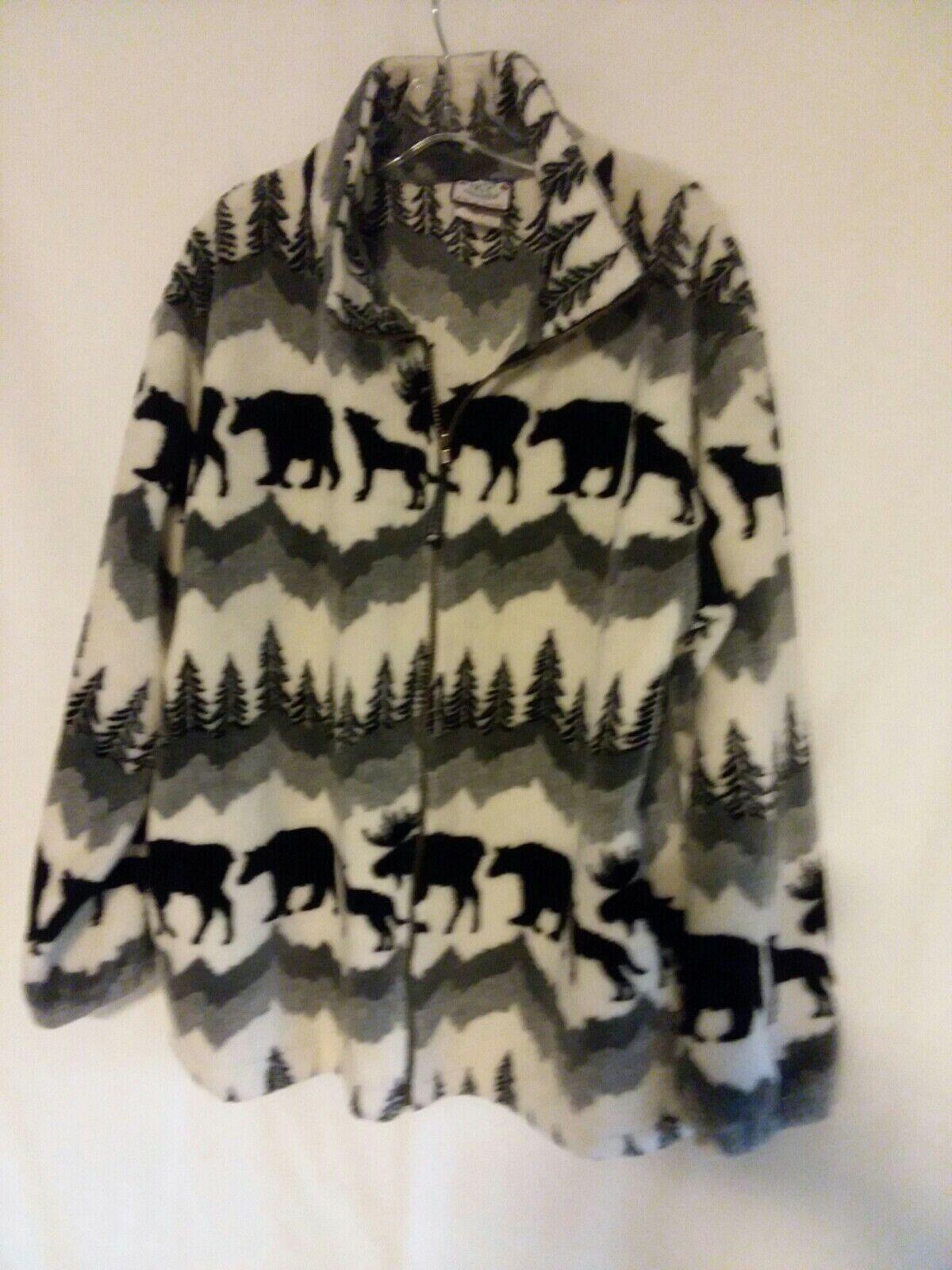Northern Lifestyles Canada Fleece Moose Bear Wolf Tree Print Jacket Size Large
