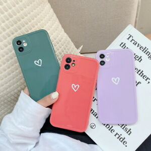 For iPhone 12 Pro 11 Pro Max XS XR X 7 8 Love Heart IMD Soft Glossy Case Cover