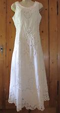 Vtg Battenburg Lace White Cotton Wedding Dress Bridal Maxi with Crop Jacket M