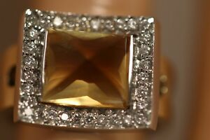 HEAVY-9-44G-14K-YELLOW-GOLD-6-32CT-CITRINE-DIAMOND-ART-DECO-BALLERINA-HALO-RING