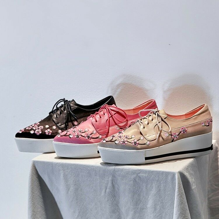 New Women's Pointy Toe Embroidery Floral Lace up Sweet Sweet Sweet Gril Wedge Heels shoes 0c279d