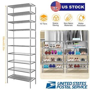 Big-Capacity-Simple-Style-10-Tiers-Shoe-Storage-Shelf-Rack-Stand-Shoes-Saving-US