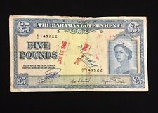 The Bahamas Government 1953 5 Pound Note Queen Elizabeth Currency Bill Very Rare