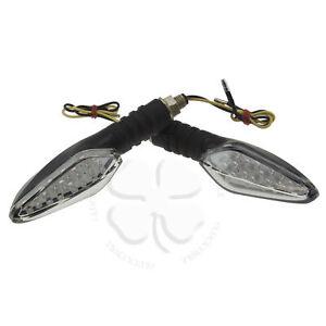 Clear Black LED Stalk Turn Signal Universal Light Motorcycle Stem Flasher Reflex