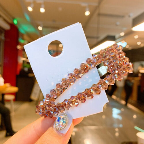 2PCS Women/'s Slide Snap Hair Clips Barrette Grips Hairpin Crystal Accessories