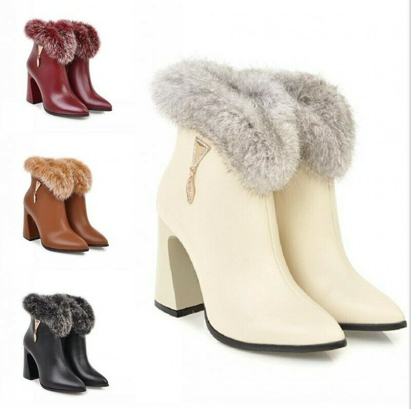 Damen Lederoptik Volltonfarbe Pelz Gefüttert Spitz Blockabsatz Ankle Stiefel 34-48