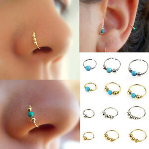 Image Is Loading 1xstainless Steel Nose Ring Turquoise Nostril Hoop