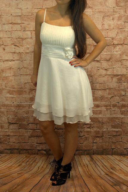 Abendkleid Coctailkleid Abschlussballkleid Minikleid Kleid Spaghettiträge creme