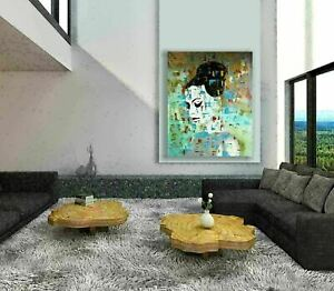 Abstract Fine Art Mix Media Painting Canvas Modern Texture Contemporary  Face