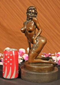 Erotico-Arte-Desnudo-Femenino-Muy-Sexual-Bronce-Clasico-Escultura-Estatua-Deal