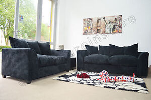 Image Is Loading Jumbo Cord Black Fabric Sofas 3 Seater 2