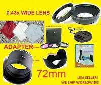 22pcs: 0.43x Wide Angle Lens 72mm+adapter To Camera Fuji S3300 S3400 S3280 Hd