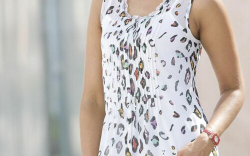 Midnight Velvet White Sheer Animal Print Tunic Summer Cruise Blouse M XL 3X PLUS