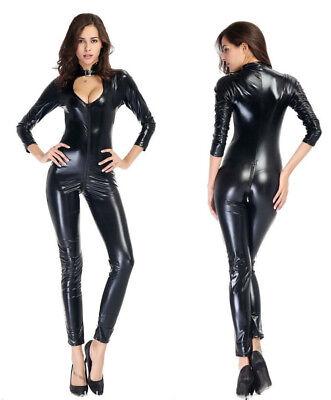 Colto Completo Tuta Nero Cavallo Aperto Simil Latex Dominatrice Mistress Clubwear Originale Al 100%