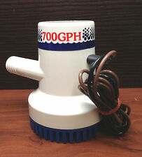 "Marine Boat 700 GPH ABS Manual Bilge Pump 12V Straight hose Adaptor 3/4"" Hose"