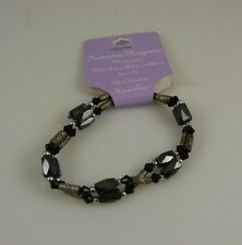 Hematite magnetic wrap around bracelet or anklet black and silvertone