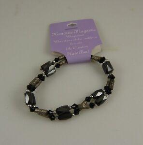 Hematite-magnetic-wrap-around-bracelet-or-anklet-black-and-silvertone
