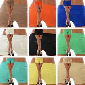 b1c8f7c3787e49 Das Bild wird geladen Damen-Hot-Pants-Shorts-Stretch-Capri-Panty-Kurze-