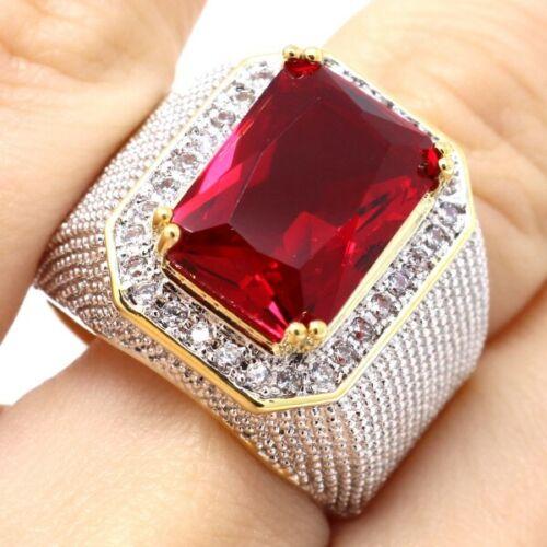 Luxe 5 ct rouge Ruby MOISSANITE Paved Bande Bague Femmes Fiançailles Bijoux Cadeau