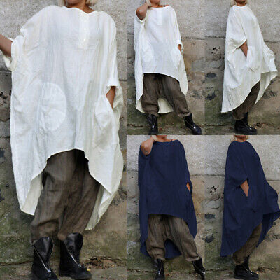 White Cotton Aline Baggy Oversized Linen Top Tunic Batwing size 8 10 12 14 20 22
