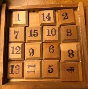 Details about Vintage Antique Wood JapanSlide Sliding 15 Number Math Puzzle  Game