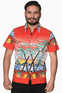 Rockabilly-Shirt-Palm-Springs-Hawaiian-1950-S-Retro-Style-Vintage-XS-S-M-L