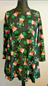 Irischer Kobold Kleid Größe S/M UK 10 Patricks Tag Stretch schwarz Junggesellinnenabschied Bnwt