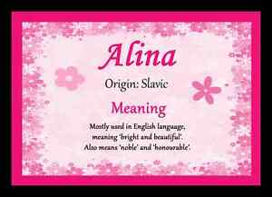 Alina personalised name meaning placemat ebay image is loading alina personalised name meaning placemat stopboris Image collections