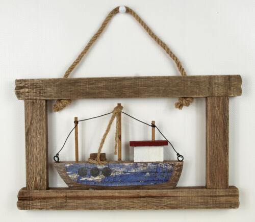 """30x27cm Wanddeko Bild Maritimer 3D Wandhänger /""""Kutter/"""" Treibholz-Look ca"""