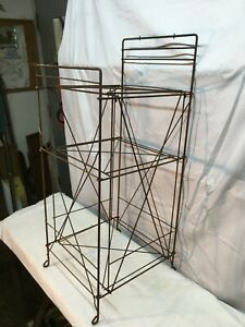 Vtg Mid-Century Modern Telephone Stand Magazine News Paper  Metal Wire Rack 27in