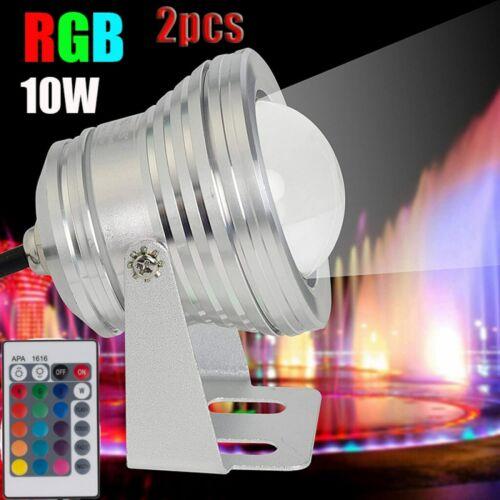 2x LED RGB Unterwasserlicht Tauch Poollicht Aquarium Beleuchtung Brunnen Lampe