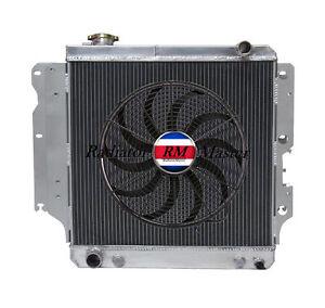 Alluminio-Radiatore-Per-1987-2006-Jeep-Wrangler-Tj-Yj-I4-V6-3ROW-16-034-034-Fan