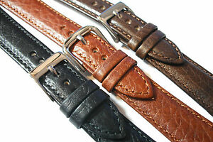 Italian-Calf-Buffalo-Grained-Leather-watch-Strap-12-24mm-Black-brown-or-tan