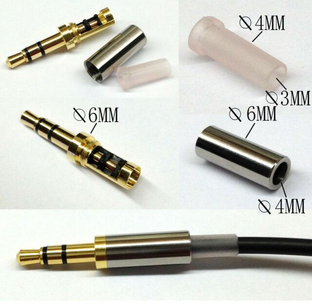 Gold 3 Pole 3.5mm Male Repair headphone Jack Plug Metal Audio Soldering & Spring