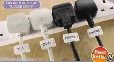 10 PLASTIC CORD NAME CLIPS * TV COMPUTER CABLES LABELS TAGS TIES