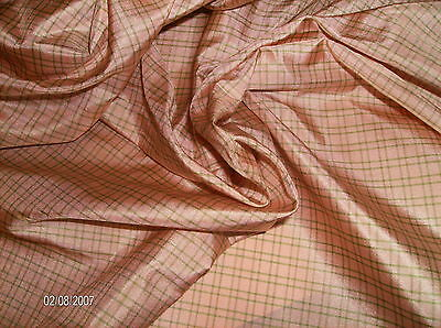 """NEW"" SILK TISSUE TAFFETA~PINK & GREEN PLAID~MINIATURE DOLLS~ANTIQUE FRENCH DOLL"