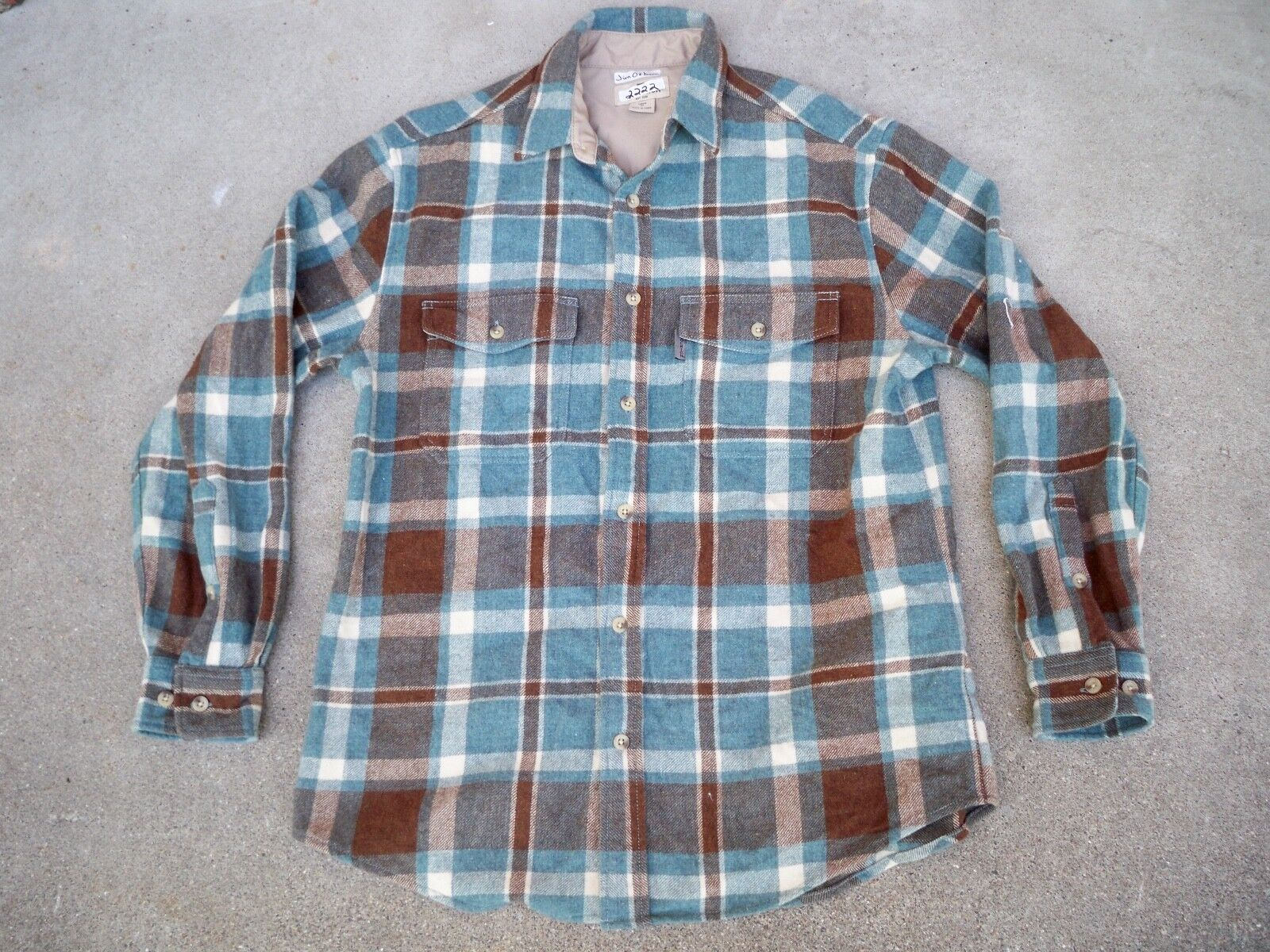 Woolrich Plaid Board Wool Hunting Work Jac Long Sleeve Shirt Men's Size Medium